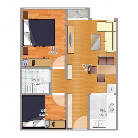 青塔芳园2室2厅1卫1厨53.00㎡户型图