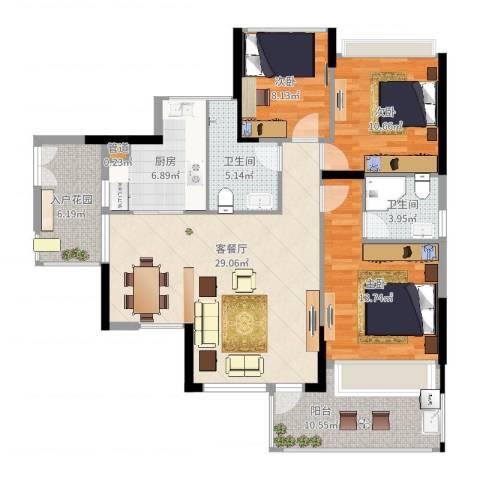 三远大爱城3室2厅2卫1厨118.00㎡户型图
