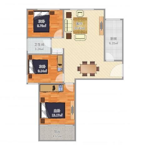 红苹果3室1厅1卫1厨95.00㎡户型图