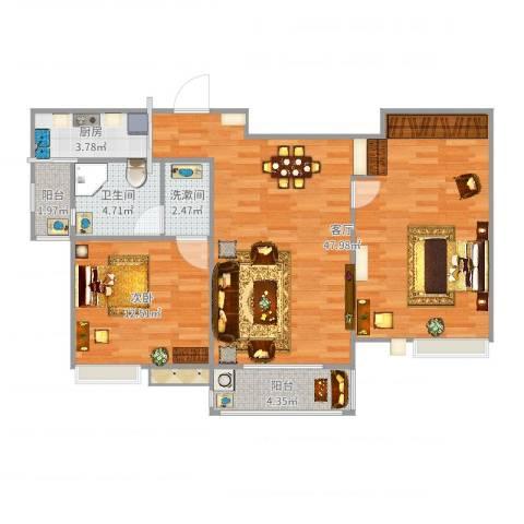 国泰・润园1室1厅2卫2厨98.00㎡户型图