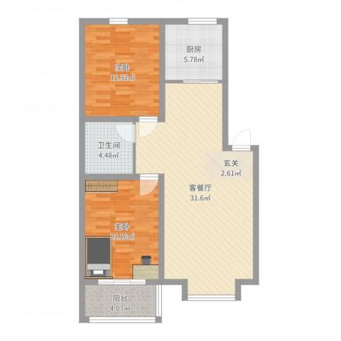 吉祥尚府2室2厅1卫1厨89.00㎡户型图