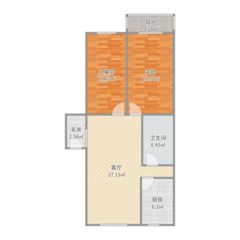 光华小区2室1厅1卫1厨94.00㎡户型图