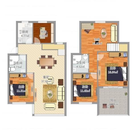 九峰小区太平洋花园5室1厅2卫1厨134.30㎡户型图