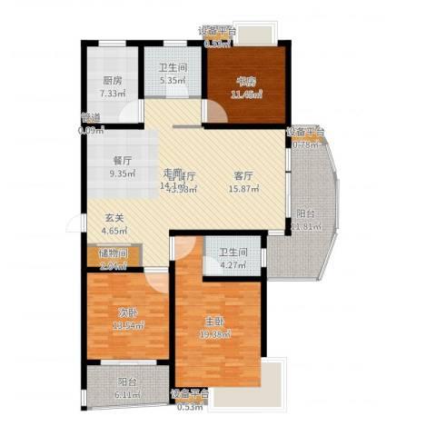 嘉宝都市港湾城3室2厅2卫1厨159.00㎡户型图