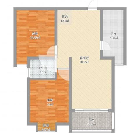 东方・海逸豪园2室2厅1卫1厨92.00㎡户型图