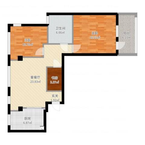 都市华庭3室2厅1卫1厨73.81㎡户型图