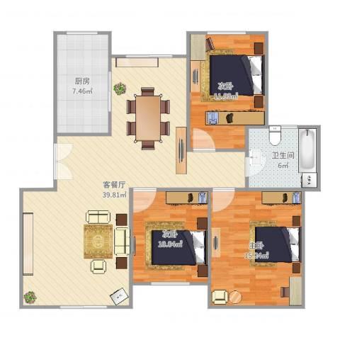 淮北温哥华城金水河畔74#601室3室2厅1卫1厨113.00㎡户型图