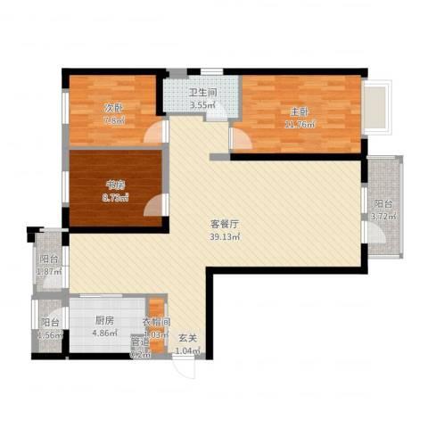 河畔名门3室2厅1卫1厨105.00㎡户型图