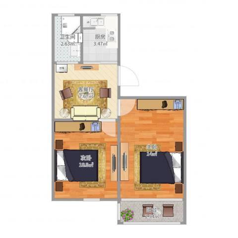 岭南路100弄小区2室2厅1卫1厨52.00㎡户型图