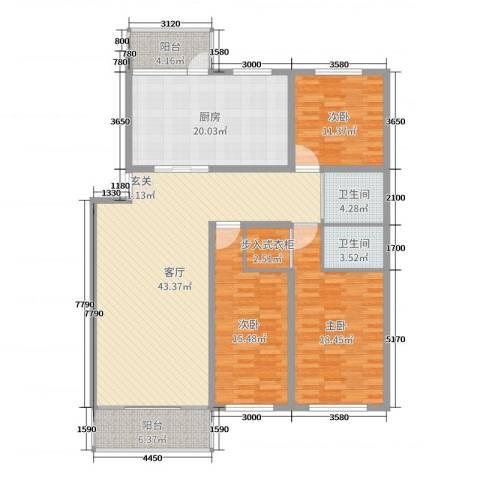 绿洲春城3室1厅2卫1厨162.00㎡户型图