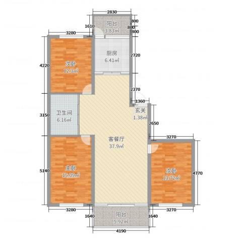 绿洲春城3室2厅1卫1厨127.00㎡户型图