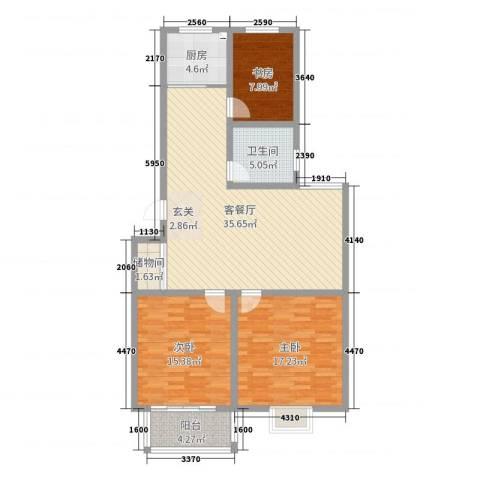 文馨苑小区3室2厅1卫1厨114.00㎡户型图