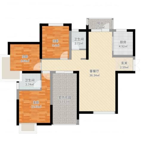 江汽五村3室2厅2卫1厨118.00㎡户型图