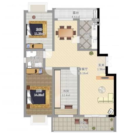 五洲花园3室2厅1卫1厨125.00㎡户型图