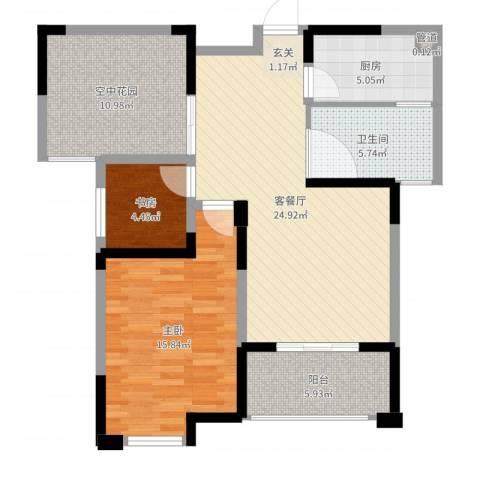 永华滨江名城2室2厅1卫1厨91.00㎡户型图
