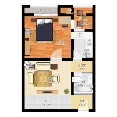 恒顺世纪中心1室2厅1卫1厨72.00㎡户型图