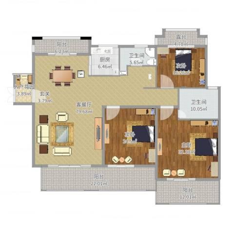 香江帝景3室2厅2卫1厨280.00㎡户型图