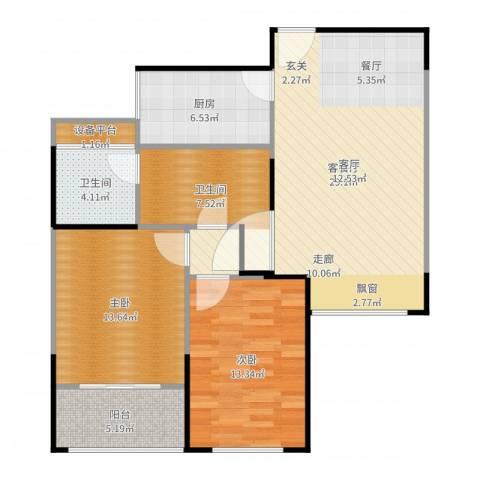 正元怡居2室2厅2卫1厨101.00㎡户型图