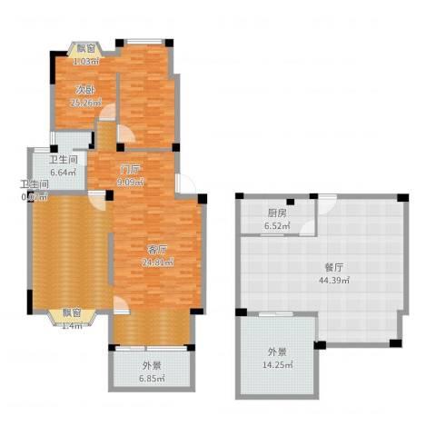 志城江山郡1室1厅2卫1厨169.51㎡户型图