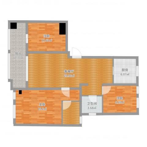 佳源名人公馆3室2厅1卫1厨119.00㎡户型图