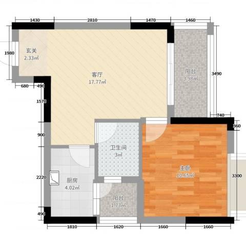 京珠花园1室1厅1卫1厨53.00㎡户型图