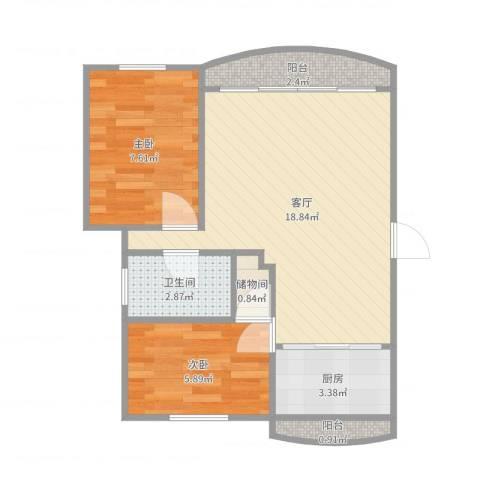 龙柏城市花园2室1厅1卫1厨53.00㎡户型图