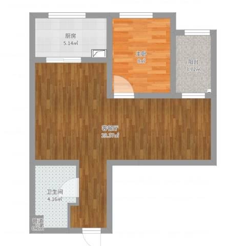 高新大都荟1室2厅1卫1厨62.00㎡户型图