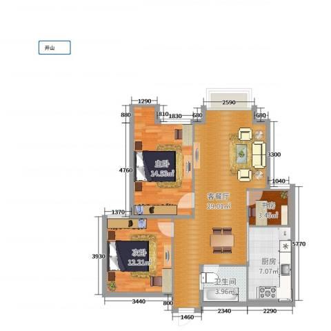 阳光小区3室2厅1卫1厨88.00㎡户型图