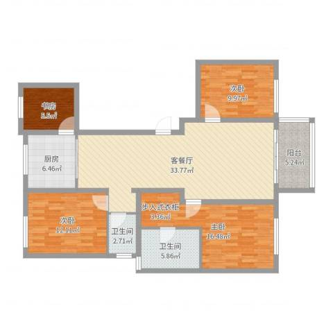 华苑小区4室2厅2卫1厨123.00㎡户型图