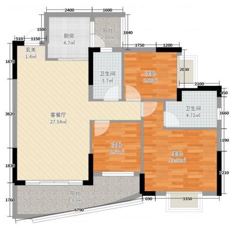 京珠花园3室2厅2卫1厨105.00㎡户型图