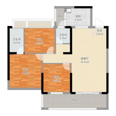 东方花园3室2厅2卫1厨118.00㎡户型图