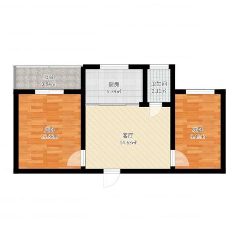 机床厂家属院2室1厅1卫1厨60.00㎡户型图