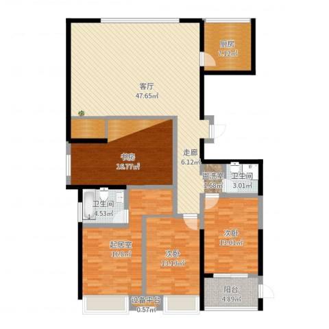 上东曼哈顿2室1厅2卫1厨164.00㎡户型图