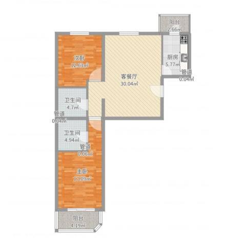 瑞丽江畔2室2厅2卫1厨103.00㎡户型图
