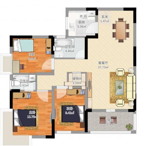 集美大唐世家3室2厅2卫1厨112.00㎡户型图