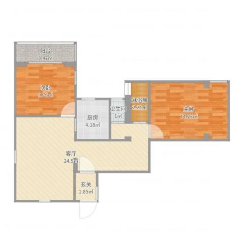 管弄小区2室1厅1卫1厨77.00㎡户型图