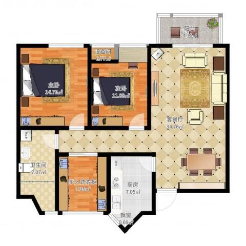 虹锦湾2室2厅1卫1厨109.00㎡户型图