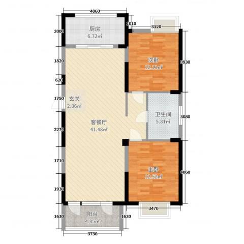 和顺中央花城2室2厅1卫1厨104.00㎡户型图