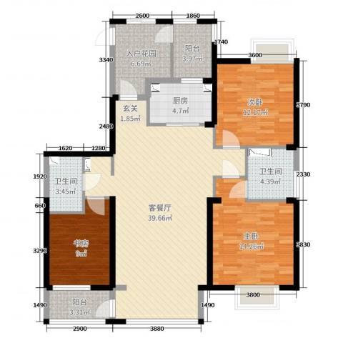 和顺中央花城3室2厅2卫1厨127.00㎡户型图