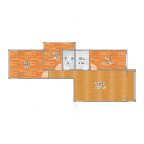 鑫泰园3室2厅1卫1厨99.00㎡户型图