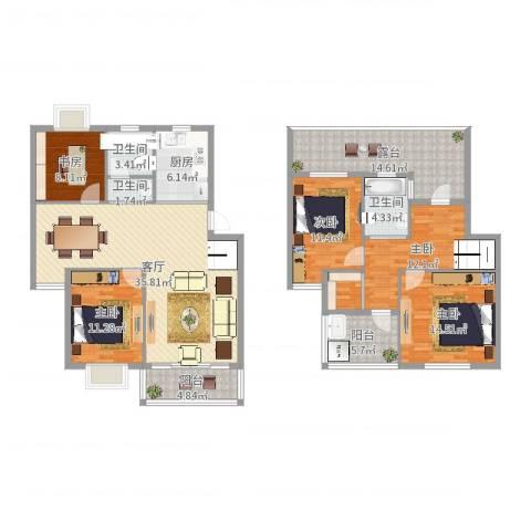 鑫隆花园150㎡5室1厅3卫1厨170.00㎡户型图