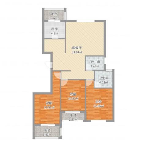 御润国际豪庭3室2厅2卫1厨116.00㎡户型图