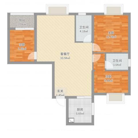 茶亭溪苑3室2厅2卫1厨101.00㎡户型图