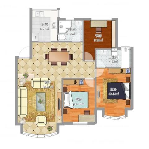 海怡花园3室1厅2卫1厨107.00㎡户型图