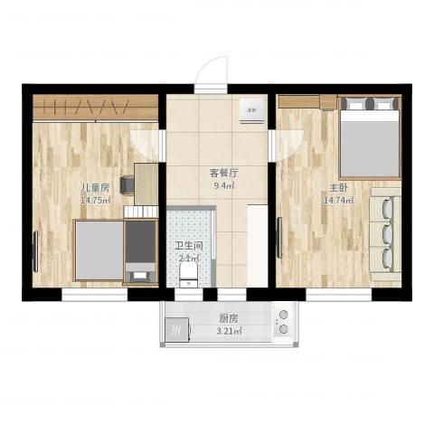 倚虹西里2室2厅1卫1厨44.20㎡户型图