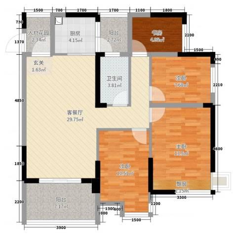 清泉城市广场4室2厅1卫1厨91.00㎡户型图