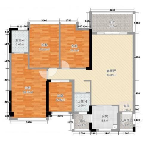 清泉城市广场4室2厅2卫1厨125.00㎡户型图