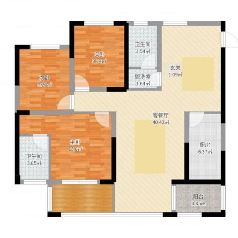 城南春天3室4厅2卫1厨122.00㎡户型图