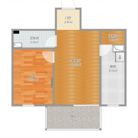 电子城小区1室2厅1卫1厨56.00㎡户型图
