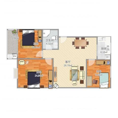 紫麟苑3室1厅1卫1厨102.00㎡户型图